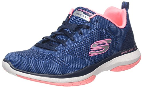 Skechers Damen Burst Tr- Close Knit Sneaker, Blau (Navy/Coral), 38 EU