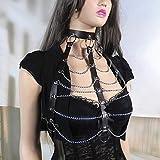 XWBO Damen Brust Harness Bra Body Brustgeschirr Neckholder Halsband Gothic Punk Kostüm Cosplay Leder Körper Bandage Hüftgurt (One Size, kette) - 4