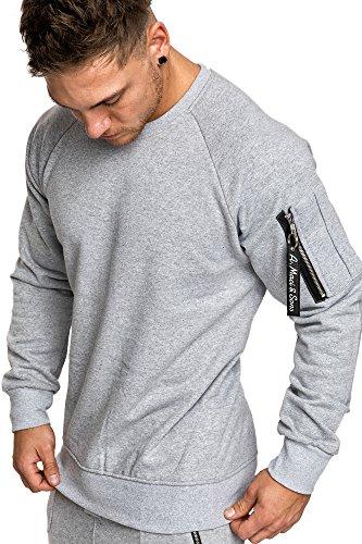 Amaci&Sons Herren Cargo Pullover Sweatshirt Hoodie Sweater Camouflage 4006 Grau M
