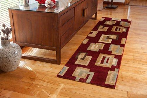 The rug house dakota tappeti moderni a quadri rosso intenso e beige