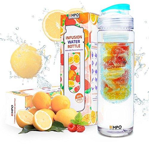 Image of Trinkflasche mit früchtebehälter - Lebenslange Garantie - 700ml / 25oz mit kostenlosem Rezepte eBook - EMPO® [BPA Freies Tritan] - Sie ist entworfen, um köstliches Wasser herzustellen, ist wirklich einfach zu benutzen und beansprucht nur ein paar Minuten