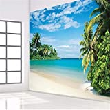 Hecho A Medida De Alta Calidad Coconut Grove Island Landscape Sofa Head Portrait Of Blue Sea View Mural Painting Bedroom 400 * 280Cm