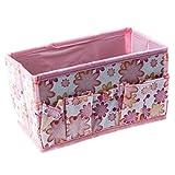 SODIAL(R) caja de almacenamiento plegable de multifuncion de maquillaje Bolsa de contenedor de cosmeticos, de moda (rosa)