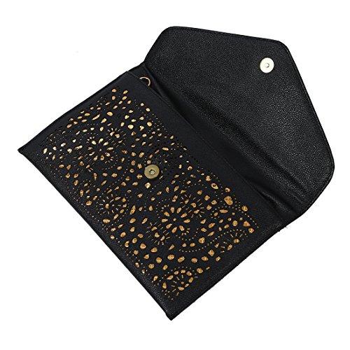 TOOGOO(R) donne Trend della borsa del ritaglio della spalla della busta nazionali Vintage frizione giorno sacchetto Borsello - blu Nero