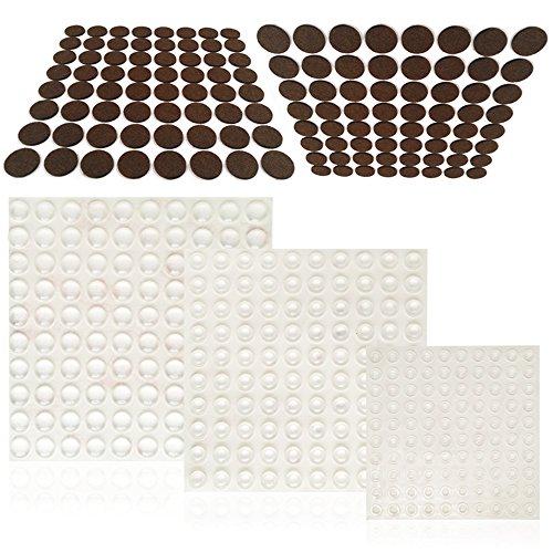 fg 300 FineGood 300PCS Schrank Tür Stoßstangen und 128Pcs Möbel Pads, Transparent Selbstklebend Gummi Bumper Pads und Filz Möbel Holz Bodenschoner