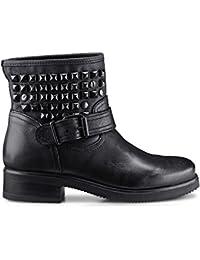 Another A Damen Damen Biker-Boots aus Leder, Schwarze Stiefel mit trendigen  Nieten- e9536d3bc4