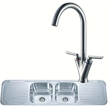 Double Bowl 2 Drainer Stainless Steel Kitchen Sink And A Chrome ...
