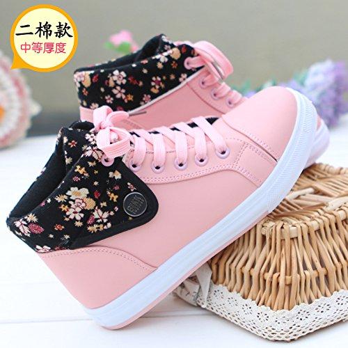 HGTYU-La nuova versione coreana sala studenti calzature sportive caldo vello alto Scheda Guida scarpe a fondo piatto scarpe di cotone35 36