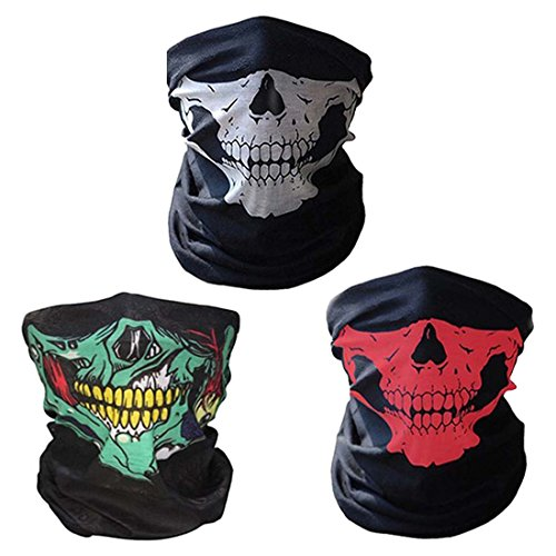 CBValley 3 Piezas Pasamontañas de Calavera Bufanda Multiuso Máscara Facial de Tubo de Motocicleta (Blanco / Rojo / Verde)