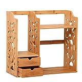 MoMo Schreibtisch-Regal-Rack Echtholz zugeben Box Büro Ordner,46 * 21 * 60cm