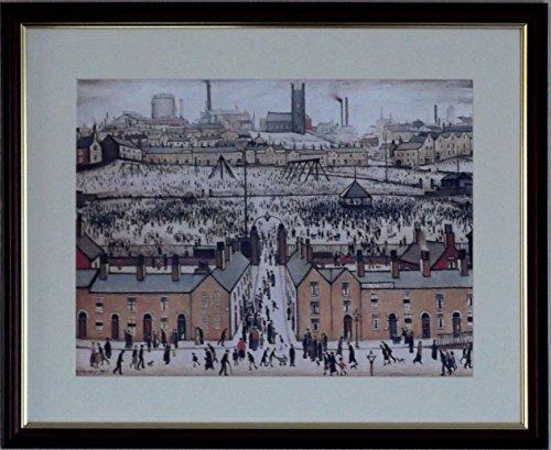 L S Lowry Spezialität Druck/Bild-Großbritannien AT PLAY, LINCOLN 1943-auf einem Leinen Struktur Medium, Walnut Finish Frame With Mount And Small Image, 16 x 13inch -