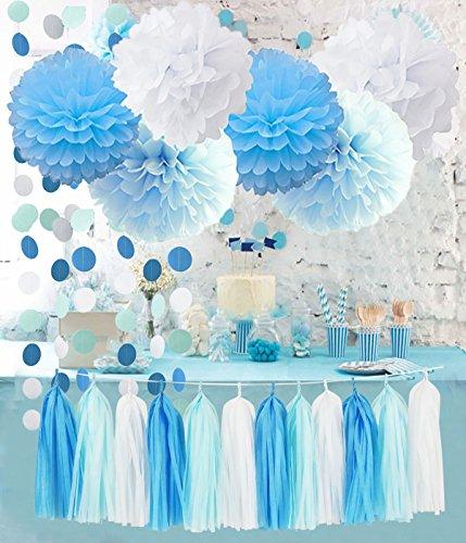 Furuix Babyparty Junge Türkisbaby-blaues weißes Geschlecht decke Papier Pom Pom für rustikale Hochzeits-Baby-Dusche, Baumschulen-Dekoration / Brautduschen-Dekoration auf