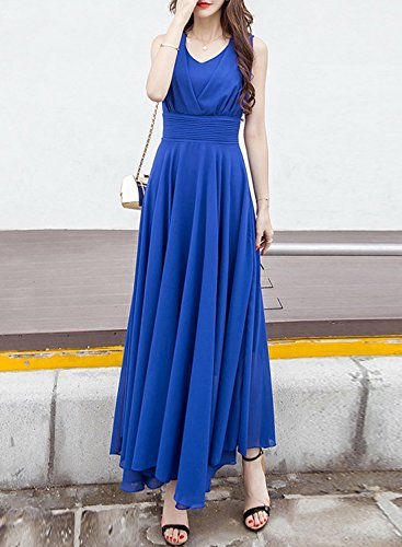 Azbro Women's V Neck Sleeveless Chiffon Prom Dress blue