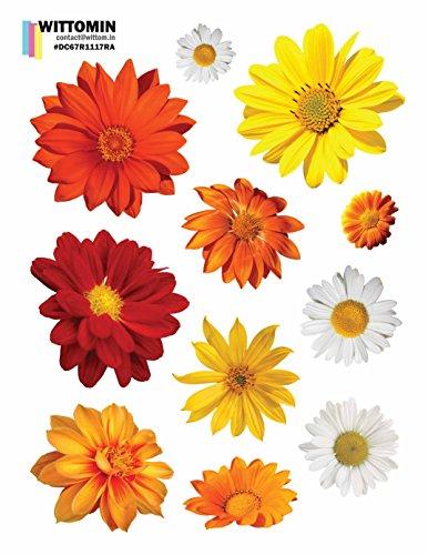Vinyl Aufkleber Blumen Gerbera Kamille Rot Gelb Orange klein