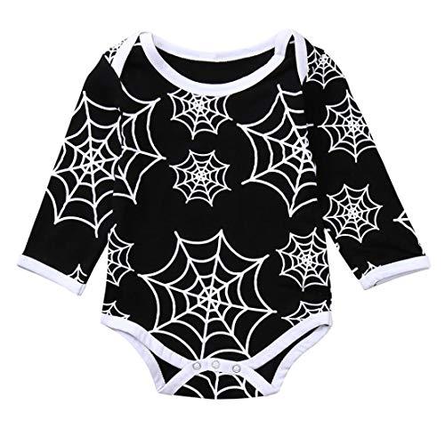 Neugeborenen Baby-Mädchen Junge Kleidung Rosennie Babybekleidung Lange Sleeve Spider Print Jumpsuit Kinderkleidung Casual Langarmshirt Strampler Outfits Set Bekleidungssets Babyanzug (Schwarz)
