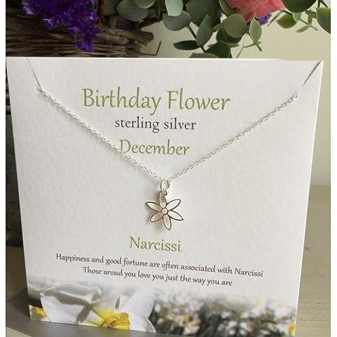 Compleanno in argento Sterling, a forma di fiore collana/ciondolo -- dicembre ---- Narcissi, presentato Effectz Sterling