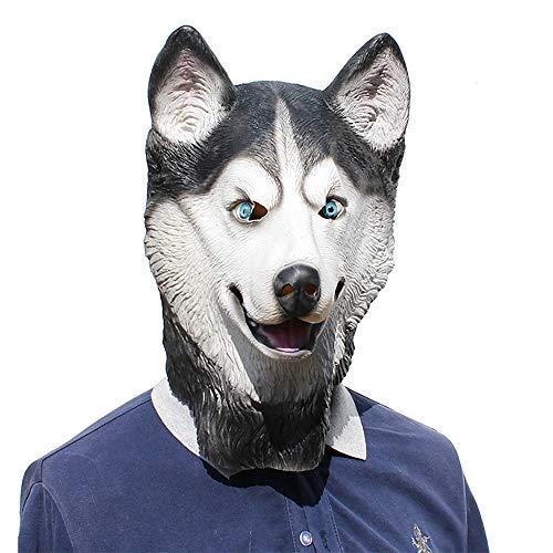 Beängstigend Kostüm Hunde - FZTX-ZJJ Halloween Party Party Lustige Maske Schneeleopard Hund Haustier Latex Maske Kostüm Maske Cosplay Halloween Latex Realistische Prop Party Gesichtsmaske,B