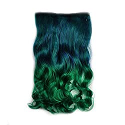Alay&me 18 Inch Hair Extensions Curly Clip in Hairpiece (Dark Blue to Dark Green)