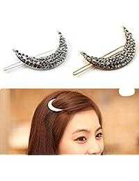 GGG Brillant strass lune conception barrette élégant épingle à cheveux cadeau de la femme (Couleur: Argent)