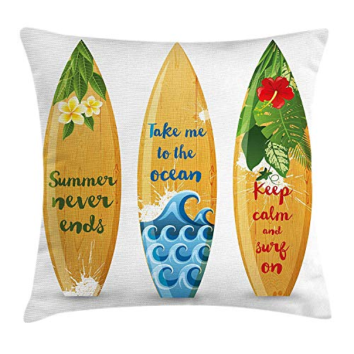 Vintage Hawaii Throw Pillow Cushion Cover, Wooden Surfboards with Quotes About Summer Ocean and Swimming Flower Design, Decorative Square Accent Pillow Case, 18 X 18 inches, Multicolor