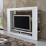 TV-Medienwand Anbauwand Wohnwand, Hochglanz weiß, (B/H/T) 152 x 113 x 31 cm, TV-Fachmaß: 113 x 82 cm - perfekt für den Fernseher im Wohnzimmer - stilvoller TV Schrank mit Glanz