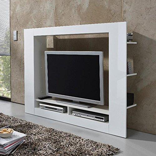 TV Mediawand Anbauwand Wohnwand Hochglanz weiß 152cm