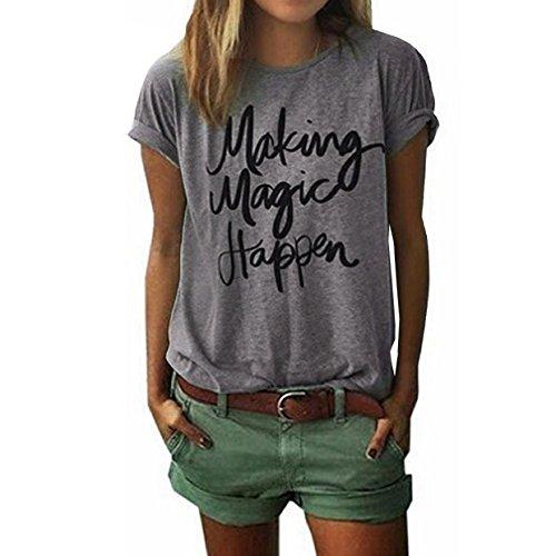 Damen Sommer-Kurzarmshirts T-Shirt EUZeo Mode Damen Sommer Lose T-Shirt Schreiben Bedruckte Rundkragen Lässige O-Ausschnitt Casual Bluse Tops Hemd Kurzarm (XL, Grau) (Kurzarm-cape)