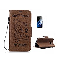 Case For Samsung Galaxy S8 [With Tempered Glass Screen Protector],Fatcatparadise(TM) Anti Scratch Flip Soft Silicone Back Cover Case ,Elegant Vintage Pressed Cute Bear Pattern Design Flip Magnetic Premium PU Leather Credit Card Folio Holder [with Lanyard