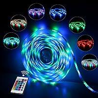 LED Streifen, LED Strip, InnooLight 5M 300 LEDs RGB IP65 wasserfest bunt selbstklebend SMD 2835 LED Lichterkette inkl. 24-Tasten IR Fernbedienung mit Farbauswahl für Innen und Außenbereich, LED Leiste( Nicht Weiß)