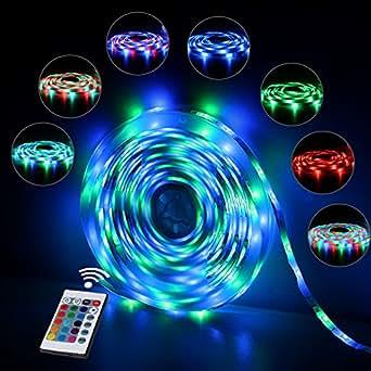 InnooLight 5m 300 LEDs RGB IP65 Wasserfest Bunt Selbstklebend SMD 2835 LED Lichterkette Inkl. 24-Tasten Fernbedienung Mit Farbauswahl Als LED Streifen LED Leiste LED Lichtschlauch, LED Stripes