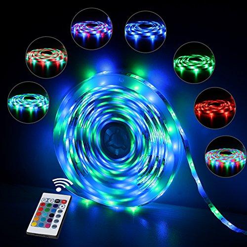 InnooLight 5m 300 LEDs RGB IP65 Wasserfest Bunt Selbstklebend SMD 2835 LED Lichterkette Inkl. 24-Tasten Fernbedienung Mit Farbauswahl Als LED Streifen LED Leiste LED