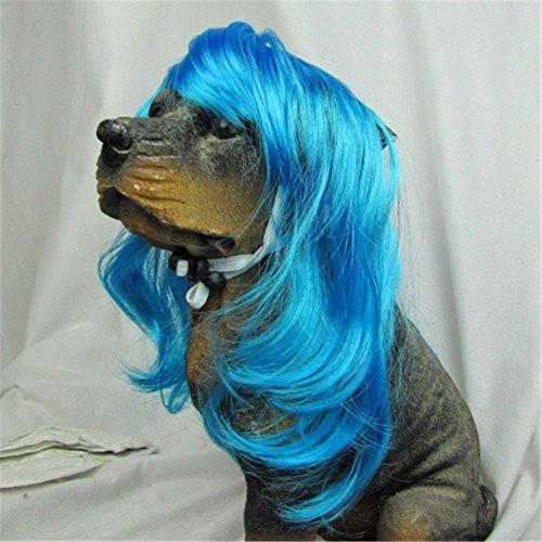 Haustier-Perücke-Weihnachtshalloween-Kostüme Lustige Welpen-lange Haar-Perücken (blau)