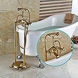 Galvanik Retro Wasserhahn neuer Boden Mouted Messing Golden freistehende Badewanne Armatur Wasserhahn Whirlpool Füller zwei Griffe, Multi Tap