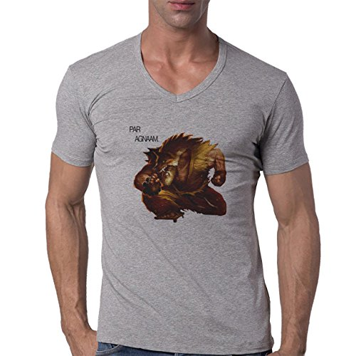 League Of Legends Angry Udyr Herren V-Neck T-Shirt Grau