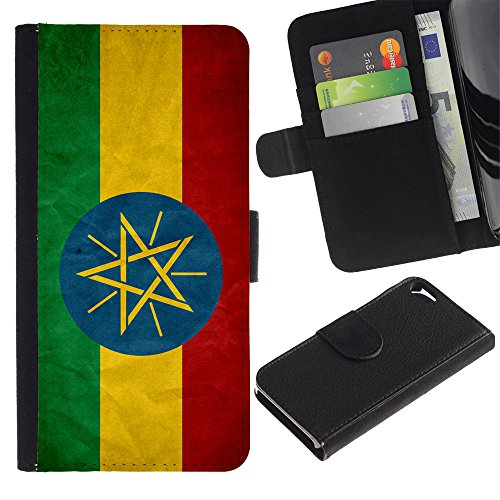 Graphic4You Vintage Uralt Flagge Von Südafrika South Africa Design Brieftasche Leder Hülle Case Schutzhülle für Apple iPhone SE / 5 / 5S Äthiopien Äthiopier