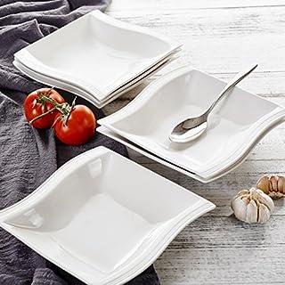 Malacasa FLORA 12pcs Assiettes Creuse à Soupe Pâte en Porcelaine 21 * 22 * 4.5cm Service de Table Vaisselles Design Mode