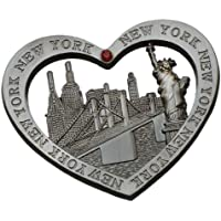 Heart Shaped New York Souvenir Metal Magnet NYC Skyline Statue of Liberty NY Empire State Building Chrysler Building Hudson River Brooklyn Bridge Metal Magnet by