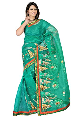 Sea Green resham embroidery plain supernet jacquard sarees
