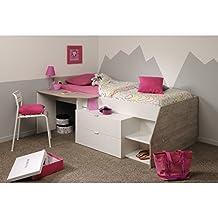 Cama multiusos con cajones escritorio y estantes en color blanco y gris, compacto perfecto para pequeñas habitaciones