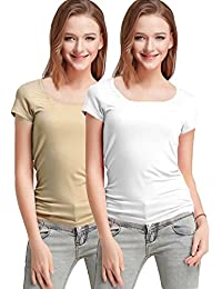 Fashion Line Premium Quality Stylish Printed Round Neck T Shirts For Women _Color : Beige and White _Material : Cotton (Pack of 2 )