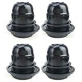 4 Stück E27 Fassung Leuchten 250V 4A Kunststoff Lampenkopf Lampenfassung Außengewinde Retro Stil (Schwarz)