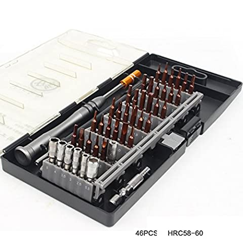 46 in 1 Outillage à main Kits de tournevis Screwdriver Set Precision Repair Tools for PC, Laptop, Phone, Glasses, Watch, Cameras and