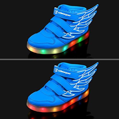 Angin-Tech Multi-Color-Blink LED Kinderschuhe Turnschuhfreizeitschuh Leucht Kinderschuhe für Dank, der Weihnachten Halloween mit CE-Zertifikat Blue