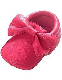Fossen Zapatos Bebe Niña Primeros Pasos Zapatos de Recién nacido con borla y lazo.