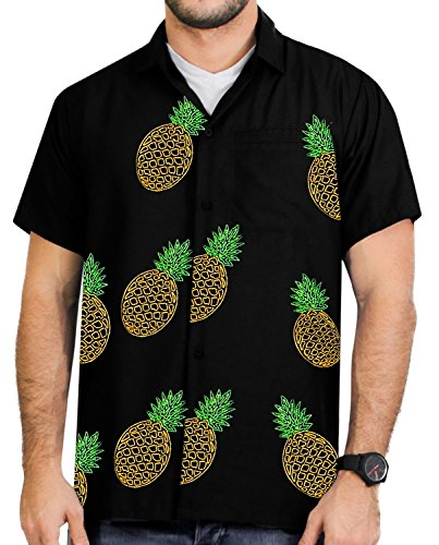 La Leela Rayon Ananas Stickerei kühlen kurzen Ärmeln Herren Shirt schwarz xs (Rayon Palme)