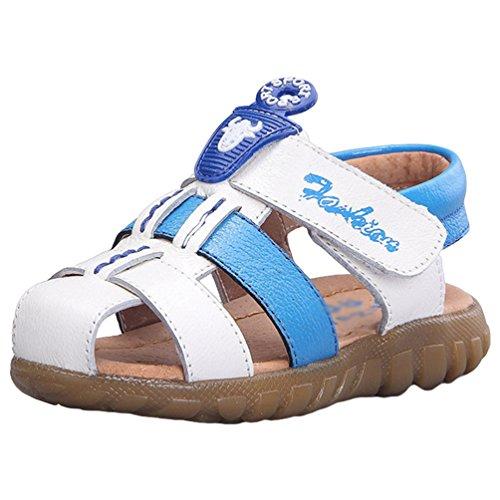 der Jungen Mädchen Flach Geschlossene Strand Schuhe Casual Sandalen (Weiß, 25 EU) (Kleid, Schuhe Jungs)