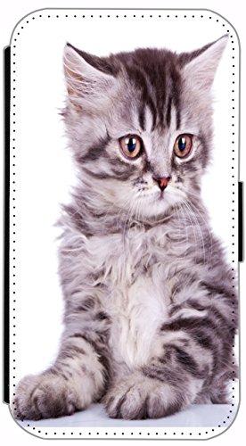 FioMi Flip Cover Hülle Samsung Galaxy S7 SM-G930F Motiv 450 Baby Katze Grau Handy Tasche Etui Schutzhülle Flipcover Case Wallet Bookflip Buchflip (450)