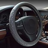 XuanMax Universal Funda de Volante Coche Cuero Microfibra Piel Respirable Vehiculo Cubierta del Volante Envoltura Protectora Antideslizante Auto Steering Wheel Cover 38cm - Gris