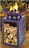 Feuerschale auf Holzlager Ø 45 cm Terrassenfeuer Feuerkorb Feuerstelle