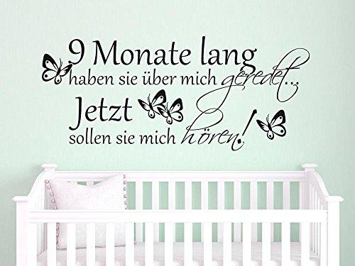 Graz Design® Wandtattoo Aufkleber Tattoo für Kinderzimmer Spruch 9 Monate lang Schmetterling (133x57cm//043 lavendel) (Monaten Lavendel 9)